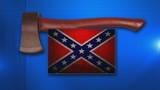 Firefighter's ax and Confederate flag_4334097