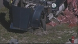 Photos: Truck with mulch overturns, blocking I-4 - (1/11)