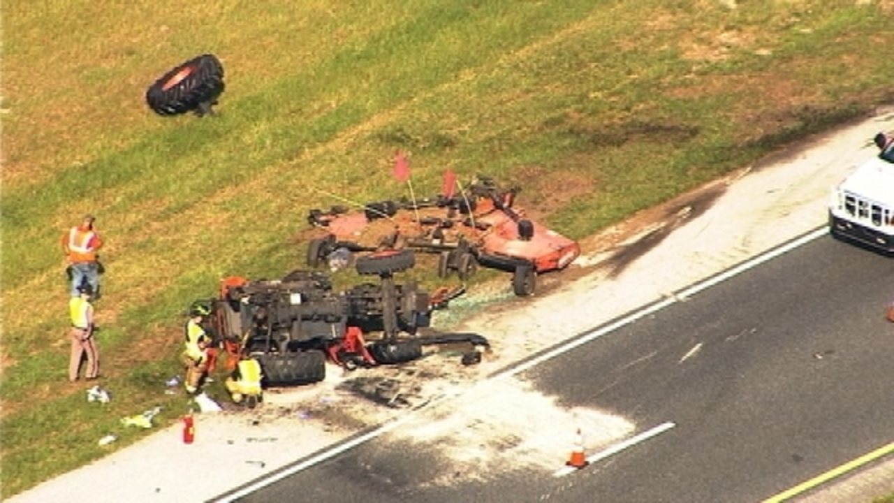 Car collides with tractor closing lanes of NB Turnpike in