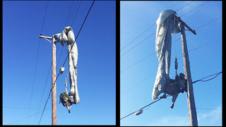 Soldier rescued after parachute caught in power lines