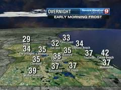 Freeze and frost likely Wednesday evening