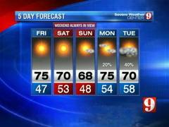 5 day forecast Thursday evening
