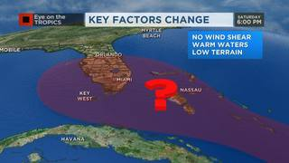 Disturbance moves over favorable development area within 24 hours