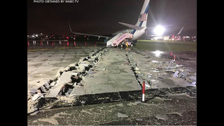 Pence plane slides off runway at NYC
