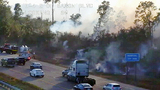 Firefighters battle I-4 brush fire in Volusia County