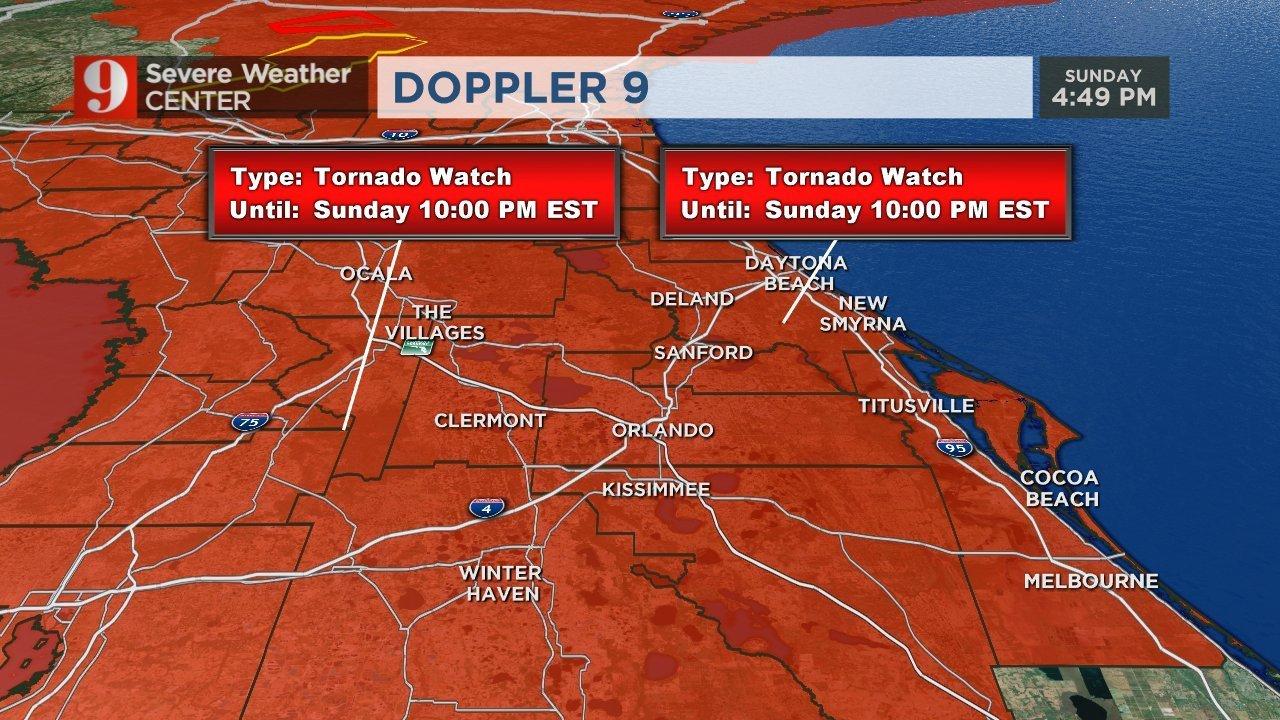 Florida Tornado Map.Most Of Central Florida Under Tornado Watch Until 6 A M Monday Wftv