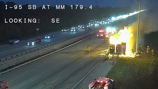 Troopers: Tractor-trailer fire closes SB I-95 near West Melbourne