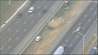 Crews fill gaping hole in I-4 median in Osceola County