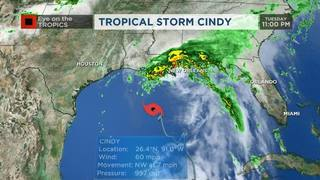 Tropical Storm Cindy strengthening