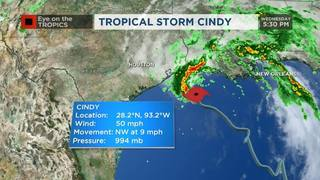 Wednesday 5 PM Tropical Storm Cindy Update