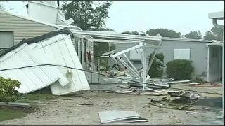 Raw video: Suspected tornado destroys Palm Bay mobile home