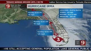 Sunday 2PM Storm Track Update for Hurricane Irma