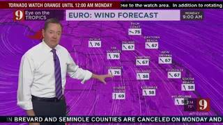 Wind speed forecast for Central Florida
