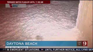 Hurricane Irma: Foam from Daytona Beach enters a parking garage