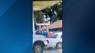 Video: Gas station employee slammed into vehicle