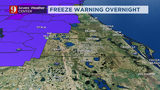 Freeze warnings issued for parts of Central Fla. as cold weather moves into Monday