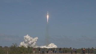 WATCH: SpaceX launches big new rocket; lands 2 boosters