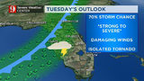 Afternoon showers expected ahead of Tuesday