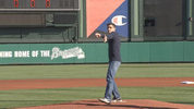 Channel 9 meteorologist Brian Shields threw the first pitch Wednesday at the opener for the Atlanta Braves spring training game at Walt Disney World's Wide World of Sports.