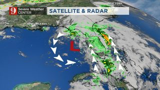 Overcast, scattered showers overnight; less chance for tropical development
