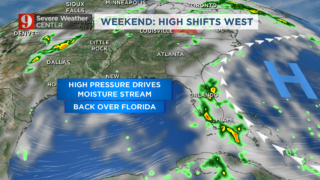 Tropical moisture shifts over Florida, again