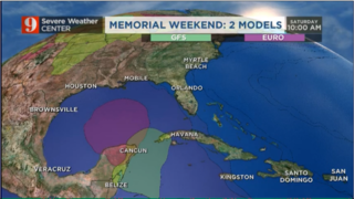 Tropical disturbance: Models and estimated rainfall for Memorial Weekend