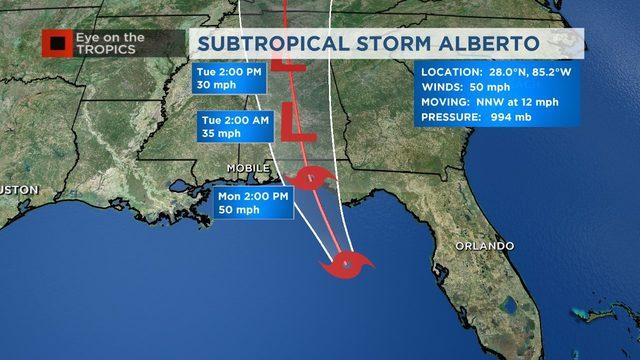 Alberto: Rain chances reduced as subtropical storm moves west