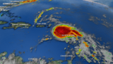 Remnants of Beryl race over the Caribbean