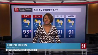 Hot and muggy weekend, average storm chance