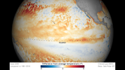 Sea surface temperatures at the equator were warmer than average (orange, red) in the eastern Pacific in June 2018. A long-lasting warm spell in the central-eastern tropical Pacific is one of the criteria for El Niño.
