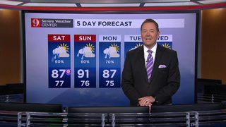 Slightly cooler temps, numerous storms