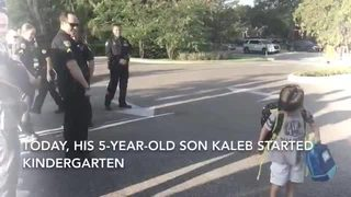 Orlando police officers escort son of injured officer to first day of kindergarten