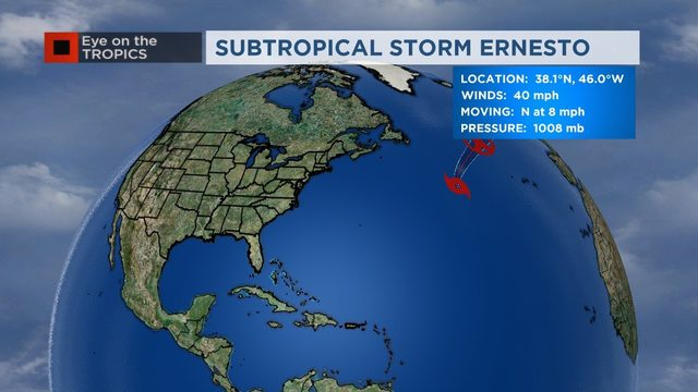 Eye On The Tropics: Ernesto forms in the North Atlantic
