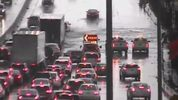 Images from traffic cameras show water rising on I-4 near Fairbanks Ave on Sunday. Source: FDOT