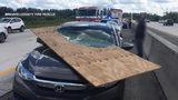 Plywood slices through woman