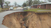 Giant hole opens up in Florida town, threatens cemetery, public housing