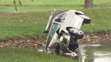 Raw video: Driver delivering Lexus from Carmax crashes car into pond