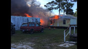Multiple mobile homes were damaged after a fire on Lake Drive in West Cocoa on Wednesday.