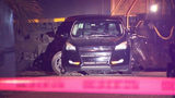 A freight train hit an SUV that was parked on the tracks early Thursday in Orlando.