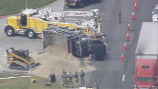 TRAFFIC ALERT: Overturned dump truck spills fuel, shuts down southbound US 27 in Lake County