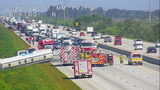Lane of I-95 southbound reopen after tanker truck tips over, spills fuel across highway