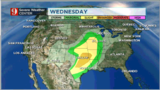 Chance for severe storms on Wednesday for Central U.S.