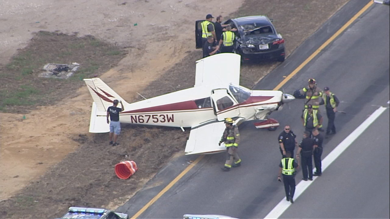 Mayday! Going down!' pilot says before landing plane on I-4 ramp