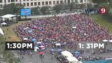Watch: Florida's notorious summer rain drenches crowd waiting to see President Trump