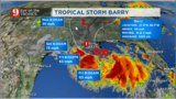 Barry officially becomes a tropical storm 11am Thursday