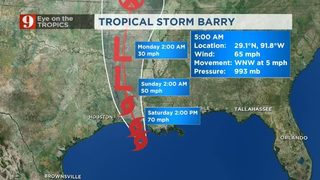 TS Barry Closing In On Louisiana