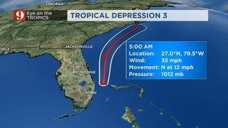 Tropical Depression 3 Stays Away