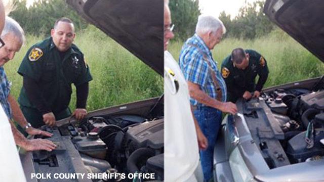 Deputy changes car battery for senior citizen stranded on Polk