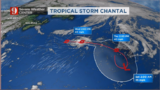 Tropical Storm Chantal meanders in the middle of the northern Atlantic.