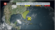 Wednesday morning: Tropical wave over the Central Bahamas has a 20% chance of developing over the next 5 days.